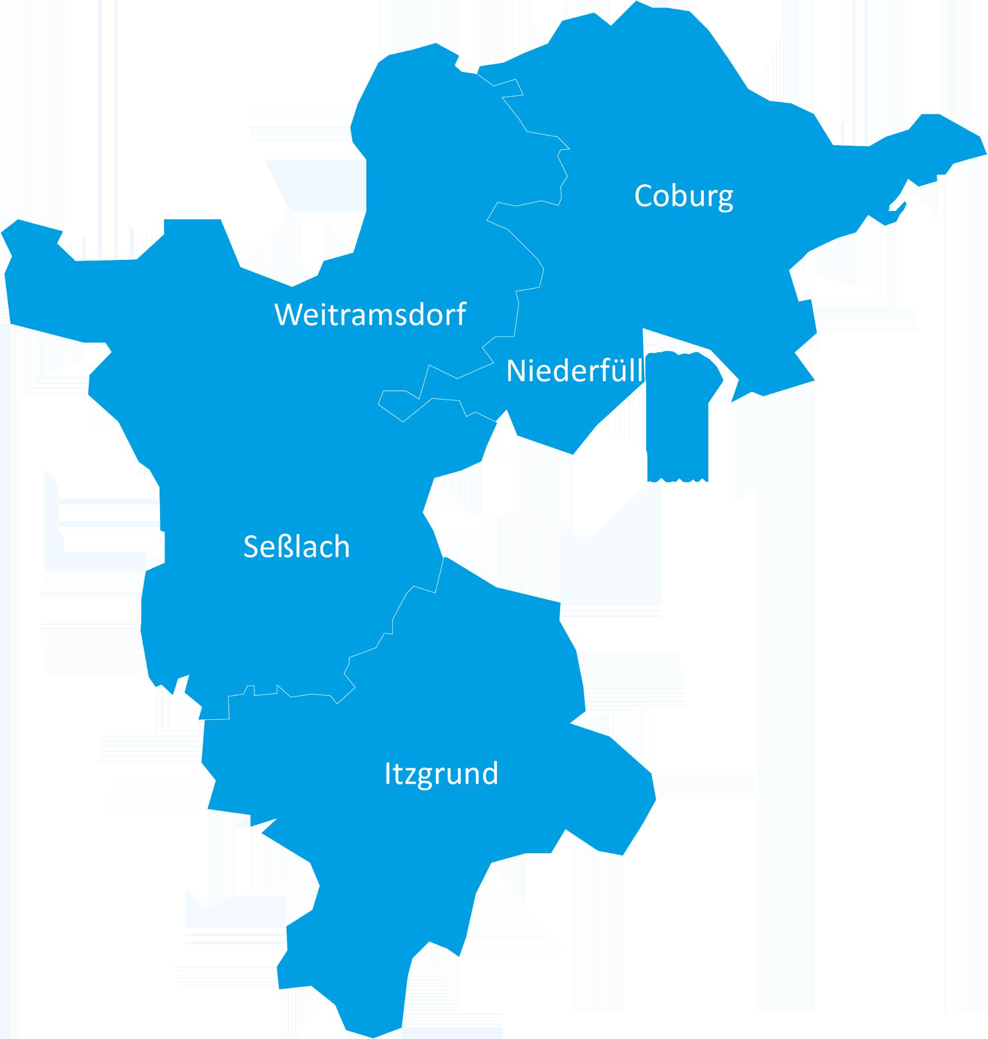 Versorgungsgebiet der Diakoniestation Weitramsdorf-Seßlach