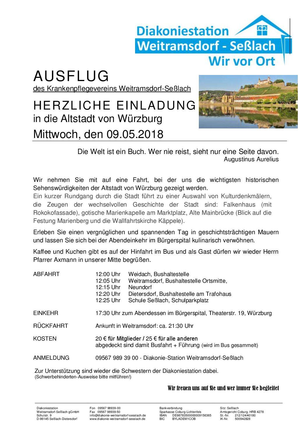 Ausflug des Krankenpflegevereins am 9. Mai 2018 nach Würzburg