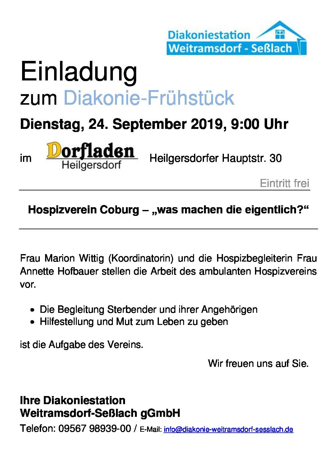 Neue Veranstaltung im Dorfladen Heilgersdorf – Diakonie-Frühstück- für alle Ausgeschlafenen