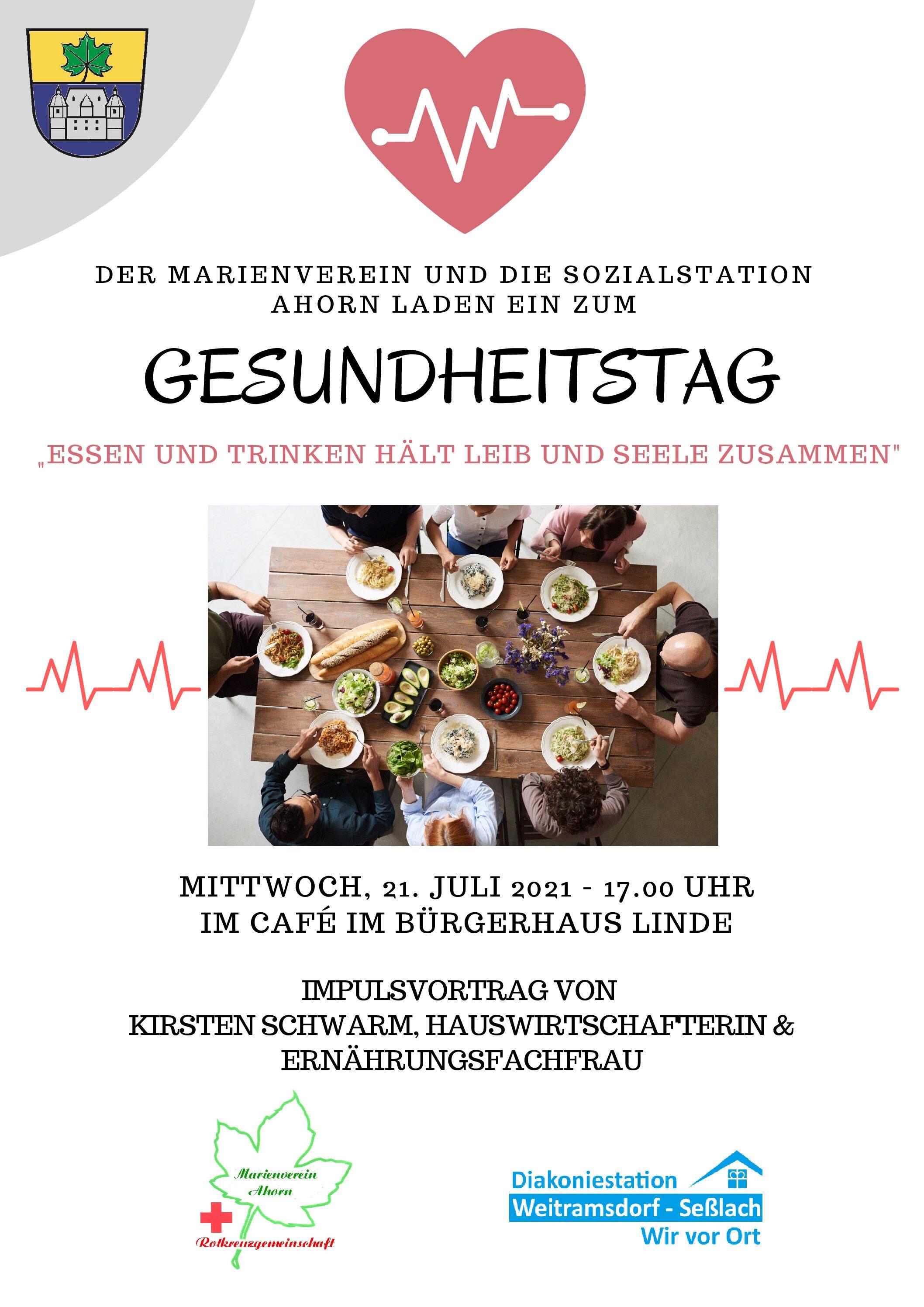 Ahorner Gesundheitstag am 21.07.2021 ab 17 Uhr im Bürgerhaus Linde
